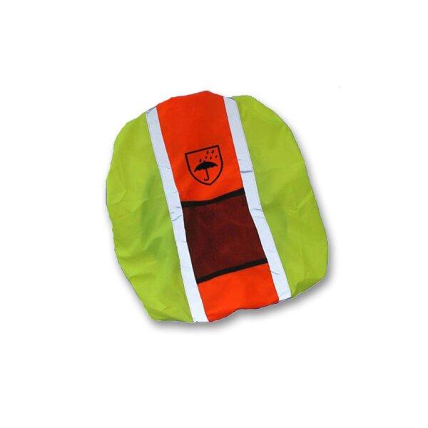 Rucksackhülle Schulranzenhülle wasserabweisend und reflektierend gelb-orange