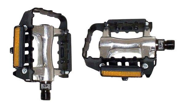 Fahrradpedal MTB Alu/Stahl Pedal mit Reflektor und deutscher Prüfnummer