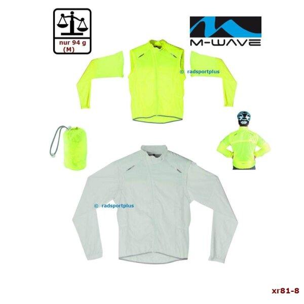 Windschutz Fahrrad M-WAVE transp & gelb, S/M/L /XL, Ärmel abnehmbar, superleicht
